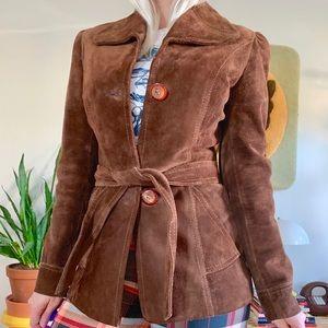 Vintage 70s brown leather belted jacket XS
